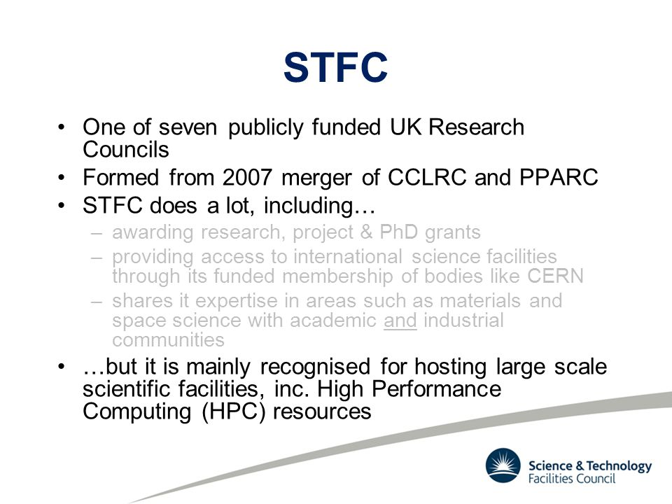 Harwell Oxford Campus -STFC major shareholder in Diamond Light Source -Electron beam accelerated to near light speed within ring -Resulting light (X-Ray, UV or IR) interacts with samples being studied -ISIS -'super-microscope' employing neutron beams to study materials at atomic level