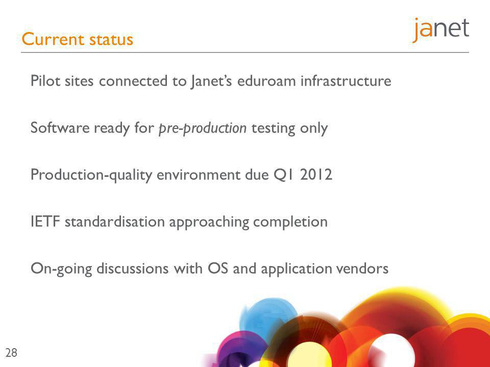 Current status Pilot sites connected to Janet's eduroam infrastructure Software ready for pre-production testing only Production-quality environment due Q1 2012 IETF standardisation approaching completion On-going discussions with OS and application vendors 28
