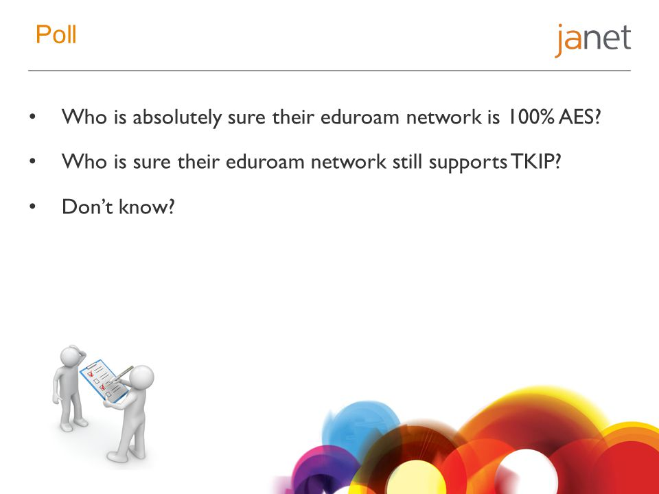 Poll Who is absolutely sure their eduroam network is 100% AES.