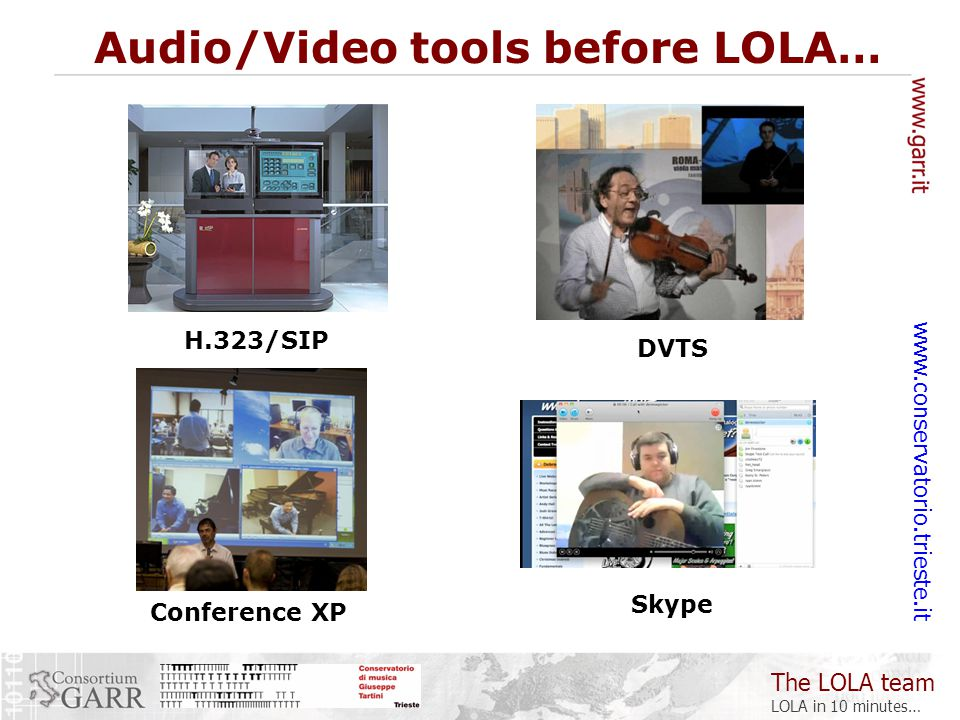 The LOLA team LOLA in 10 minutes… www.conservatorio.trieste.it H.323/SIP Audio/Video tools before LOLA… DVTS Conference XP Skype