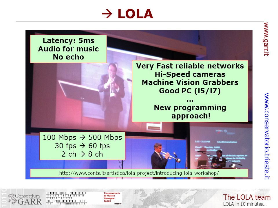 The LOLA team LOLA in 10 minutes… www.conservatorio.trieste.it  LOLA Latency: 5ms Audio for music No echo Very Fast reliable networks Hi-Speed cameras Machine Vision Grabbers Good PC (i5/i7) … New programming approach.