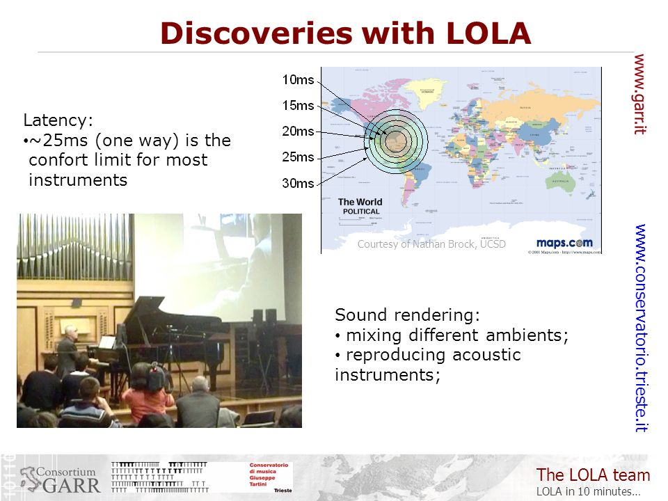 The LOLA team LOLA in 10 minutes… www.conservatorio.trieste.it Latency: ~25ms (one way) is the confort limit for most instruments Discoveries with LOLA Courtesy of Nathan Brock, UCSD Sound rendering: mixing different ambients; reproducing acoustic instruments;