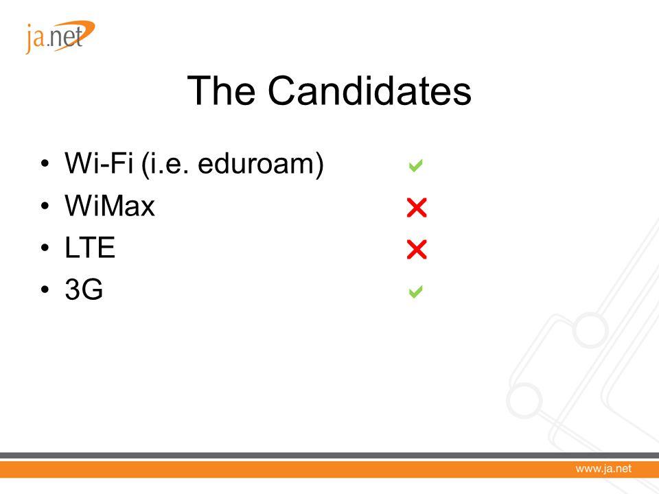 The Candidates Wi-Fi (i.e. eduroam)  WiMax  LTE  3G 