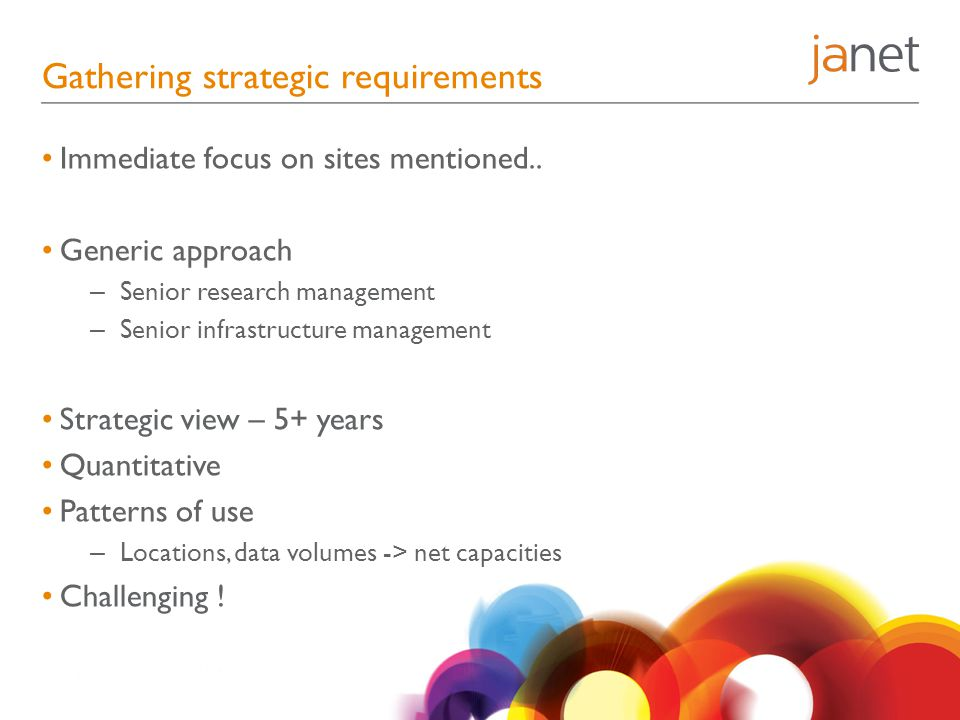 Gathering strategic requirements Immediate focus on sites mentioned..