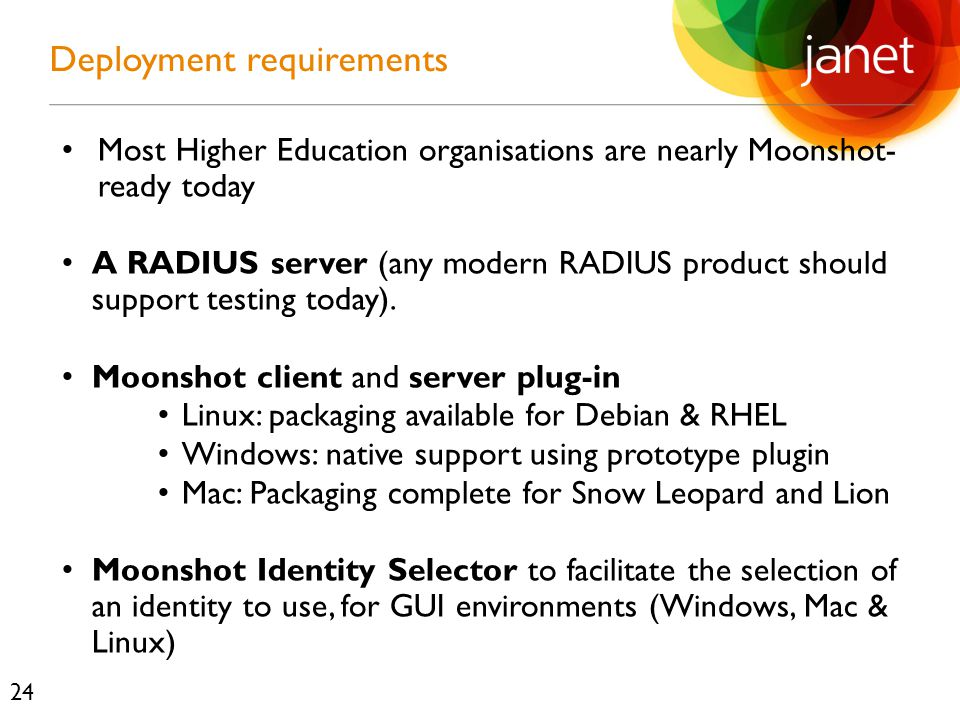 Most Higher Education organisations are nearly Moonshot- ready today A RADIUS server (any modern RADIUS product should support testing today).