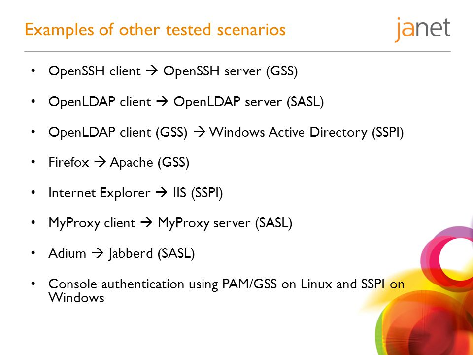OpenSSH client  OpenSSH server (GSS) OpenLDAP client  OpenLDAP server (SASL) OpenLDAP client (GSS)  Windows Active Directory (SSPI) Firefox  Apache (GSS) Internet Explorer  IIS (SSPI) MyProxy client  MyProxy server (SASL) Adium  Jabberd (SASL) Console authentication using PAM/GSS on Linux and SSPI on Windows Examples of other tested scenarios