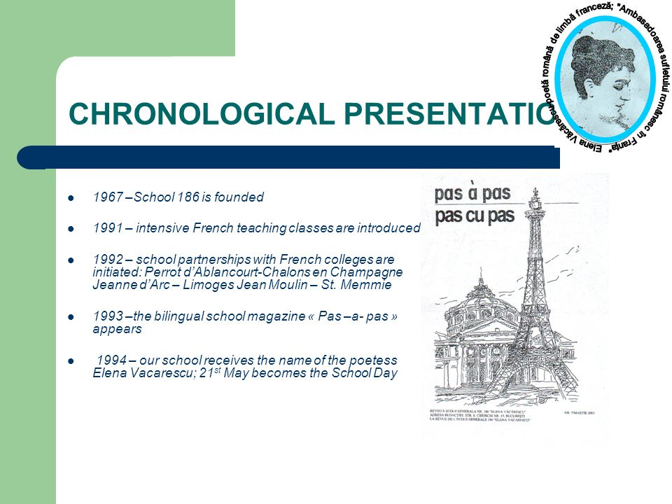 CHRONOLOGICAL PRESENTATION 1967 –School 186 is founded 1991 – intensive French teaching classes are introduced 1992 – school partnerships with French colleges are initiated: Perrot d'Ablancourt-Chalons en Champagne Jeanne d'Arc – Limoges Jean Moulin – St.