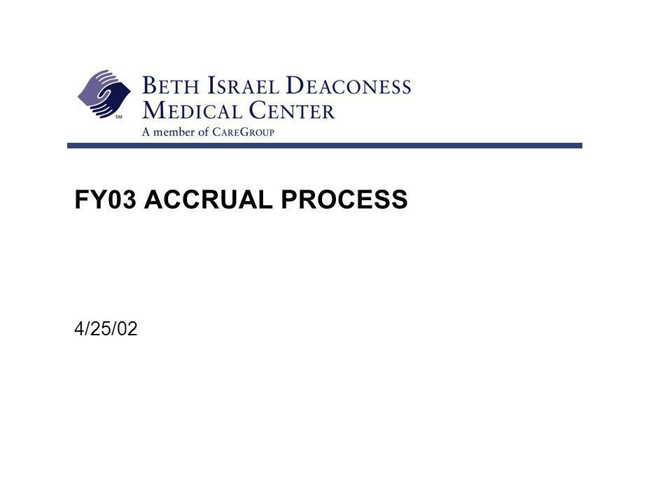 FY03 ACCRUAL PROCESS 4/25/02