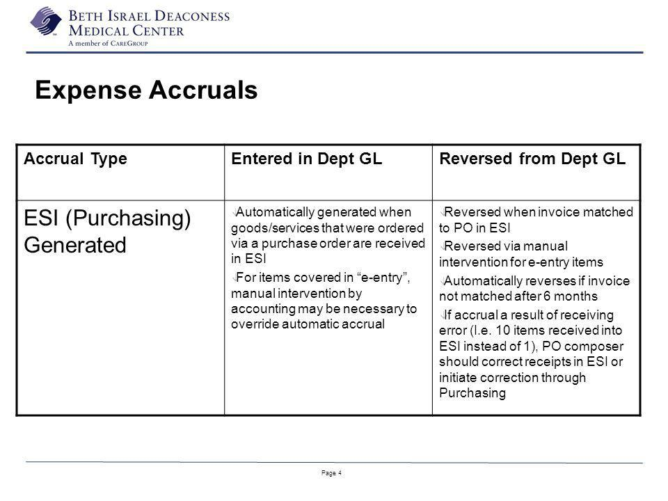Page 4 Accrual TypeEntered in Dept GLReversed from Dept GL ESI (Purchasing) Generated â Automatically generated when goods/services that were ordered