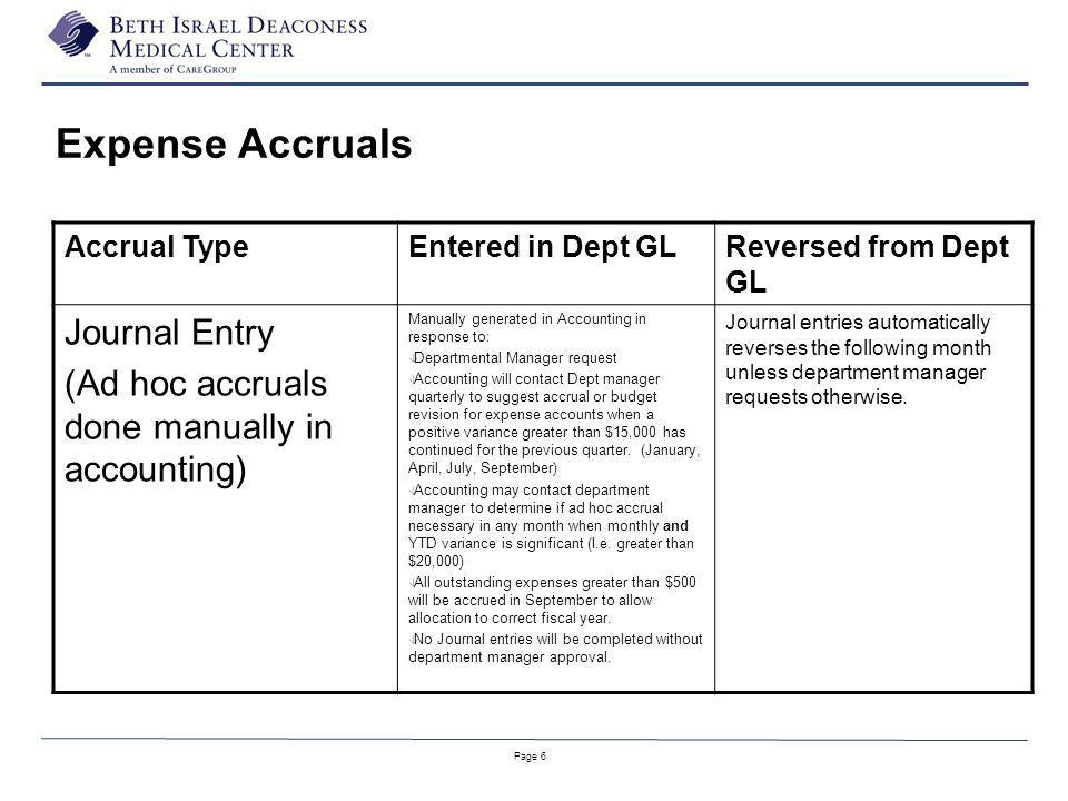 Page 6 Accrual TypeEntered in Dept GLReversed from Dept GL Journal Entry (Ad hoc accruals done manually in accounting) Manually generated in Accountin