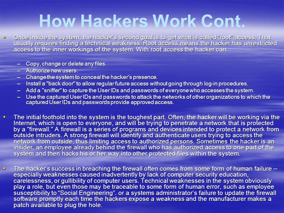 How We Make It Easy for the Hackers  Too many computer users assume their system administrator and the software developers do everything necessary to keep their network safe.