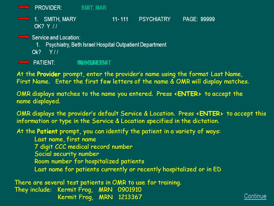 At the Provider prompt, enter the provider's name using the format Last Name, First Name.