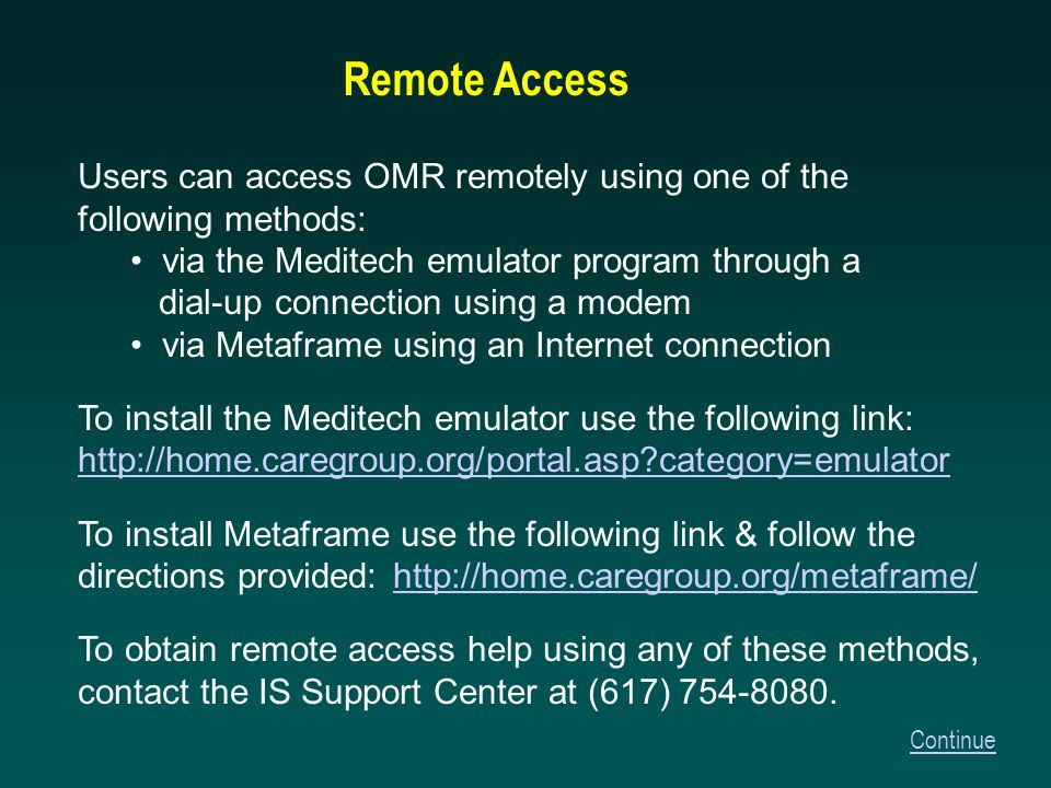 …And OMR Overview Training is Complete Click Here to Return to CCC/OMR Help OR Click Here to Return to the CareGroup Portal