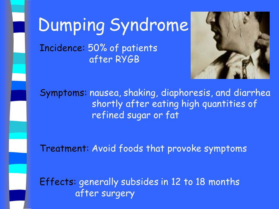 Dumping Syndrome Incidence: 50% of patients after RYGB Symptoms: nausea, shaking, diaphoresis, and diarrhea shortly after eating high quantities of re