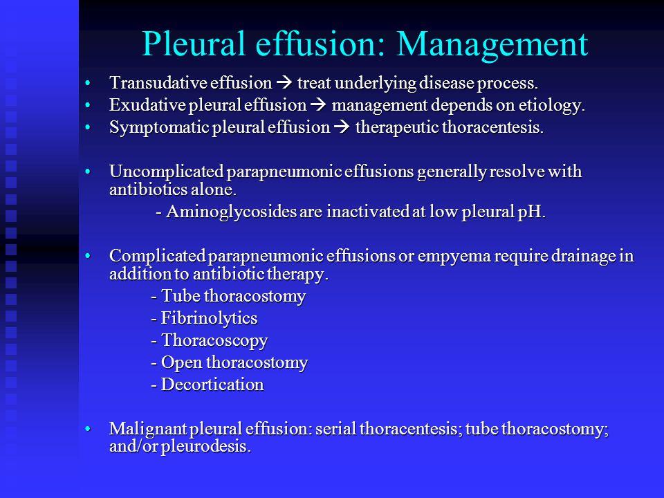 Pleural effusion: Management Transudative effusion  treat underlying disease process.Transudative effusion  treat underlying disease process. Exudat