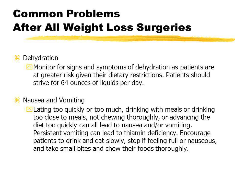 Common Problems After All Weight Loss Surgeries zDehydration yMonitor for signs and symptoms of dehydration as patients are at greater risk given thei