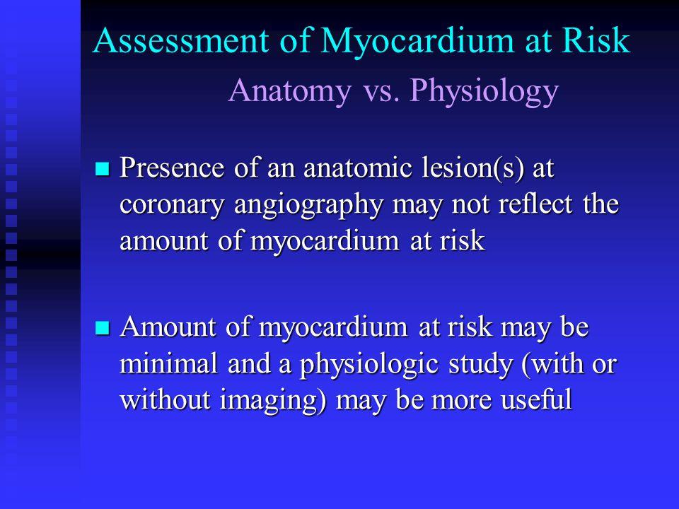Assessment of Myocardium at Risk Anatomy vs. Physiology Presence of an anatomic lesion(s) at coronary angiography may not reflect the amount of myocar