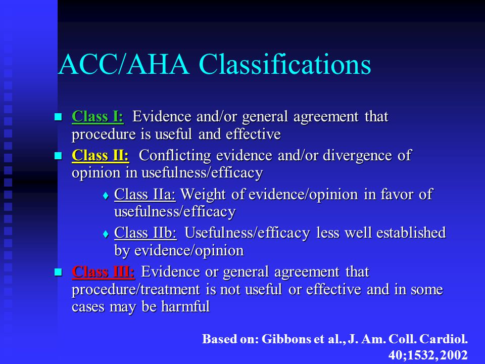 ACC/AHA Classifications Class I: Evidence and/or general agreement that procedure is useful and effective Class I: Evidence and/or general agreement t