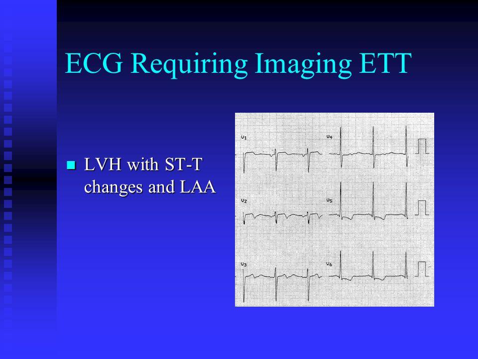 ECG Requiring Imaging ETT LVH with ST-T changes and LAA LVH with ST-T changes and LAA