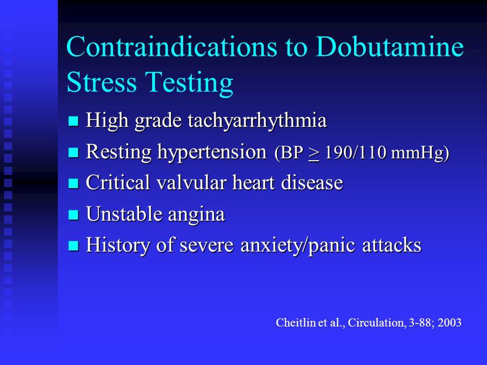 Contraindications to Dobutamine Stress Testing High grade tachyarrhythmia High grade tachyarrhythmia Resting hypertension (BP > 190/110 mmHg) Resting