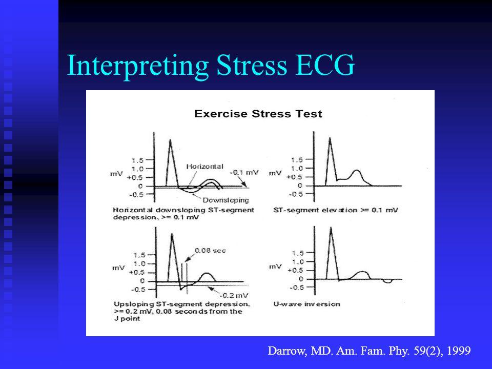 Interpreting Stress ECG Darrow, MD. Am. Fam. Phy. 59(2), 1999