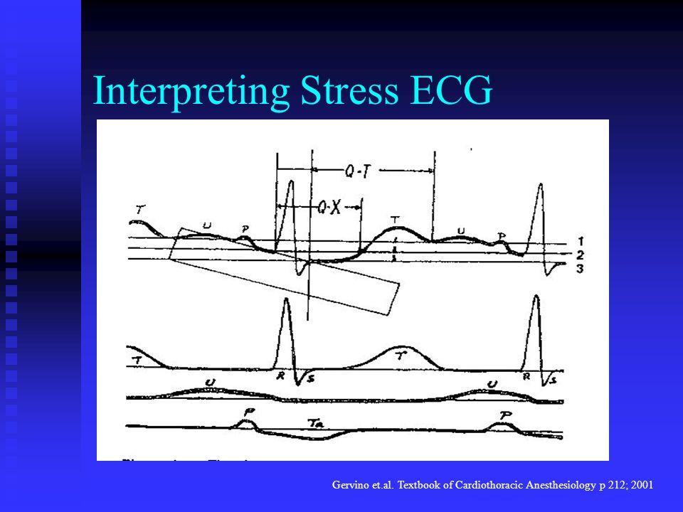 Interpreting Stress ECG Gervino et.al. Textbook of Cardiothoracic Anesthesiology p 212; 2001