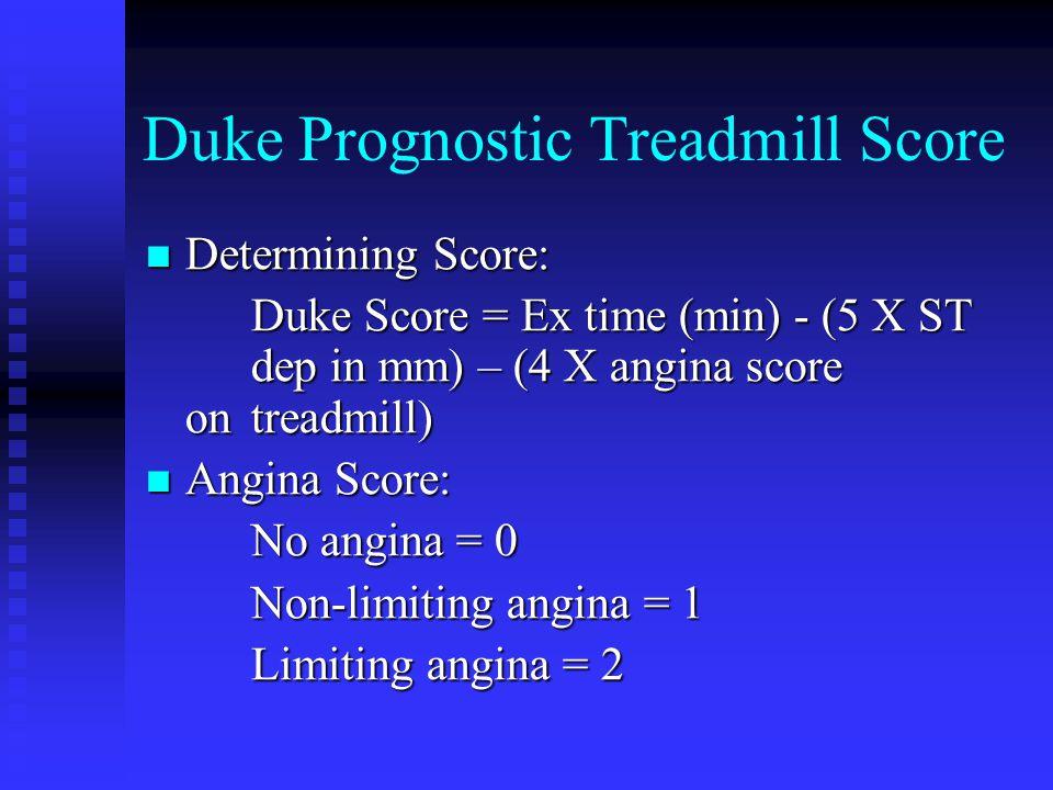 Duke Prognostic Treadmill Score Determining Score: Determining Score: Duke Score = Ex time (min) - (5 X ST dep in mm) – (4 X angina score on treadmill