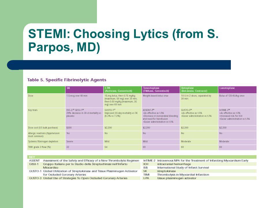 STEMI: Choosing Lytics (from S. Parpos, MD)