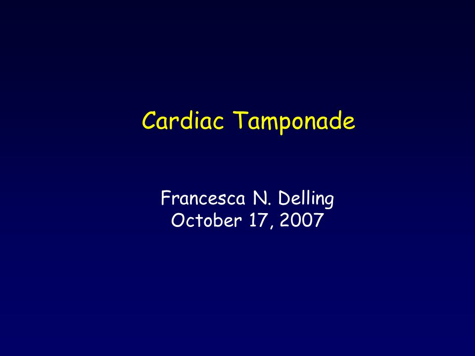 Etiology Physiology - comparison with constrictive pericarditis Types of tamponade Diagnosis - clinical presentation, physical exam, EKG, CXR, echo Treatment Tamponade