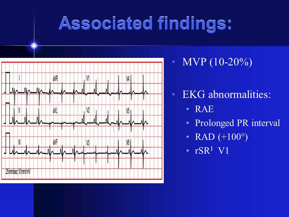 Associated findings: MVP (10-20%) EKG abnormalities: RAE Prolonged PR interval RAD (+100°) rSR 1 V1