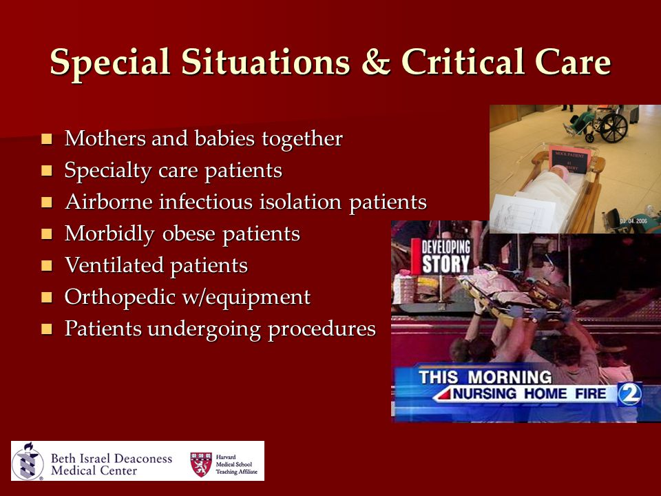 Special Situations & Critical Care Mothers and babies together Mothers and babies together Specialty care patients Specialty care patients Airborne in