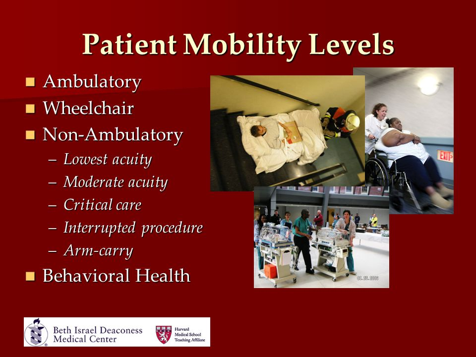 Patient Mobility Levels Ambulatory Ambulatory Wheelchair Wheelchair Non-Ambulatory Non-Ambulatory –Lowest acuity –Moderate acuity –Critical care –Inte
