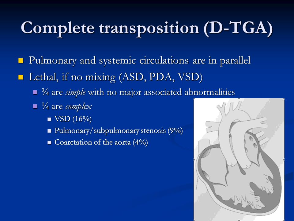 Complete transposition (D-TGA) Pulmonary and systemic circulations are in parallel Pulmonary and systemic circulations are in parallel Lethal, if no m