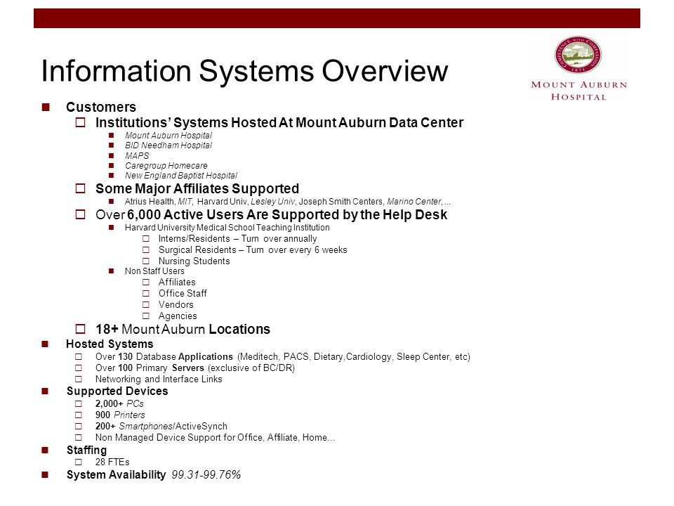 Information Systems Overview Customers  Institutions' Systems Hosted At Mount Auburn Data Center Mount Auburn Hospital BID Needham Hospital MAPS Caregroup Homecare New England Baptist Hospital  Some Major Affiliates Supported Atrius Health, MIT, Harvard Univ, Lesley Univ, Joseph Smith Centers, Marino Center,...