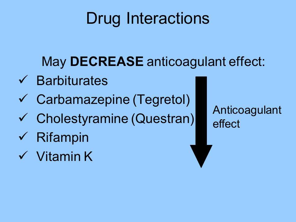 Drug/Drug Interactions Anti-infectives: Fluconazole (Diflucan) Erythromycin Fluoroquinolones Metronidazole (Flagyl) TMP-SMX (Bactrim) Anticoagulant ef
