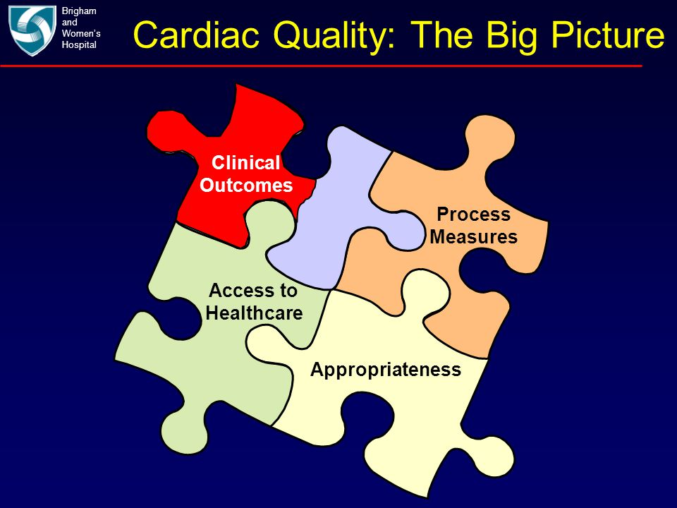 Cardiac Quality: The Big Picture Brigham and Women's Hospital Process Measures Appropriateness Access to Healthcare Clinical Outcomes