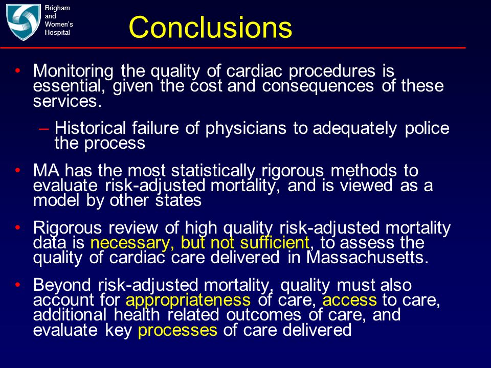 Conclusions Brigham and Women's Hospital Monitoring the quality of cardiac procedures is essential, given the cost and consequences of these services.