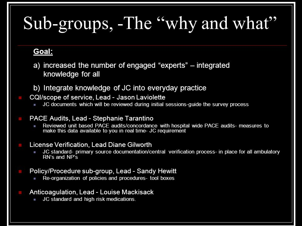 "Sub-groups, -The ""why and what"" CQI/scope of service, Lead - Jason Laviolette JC documents which will be reviewed during initial sessions-guide the su"