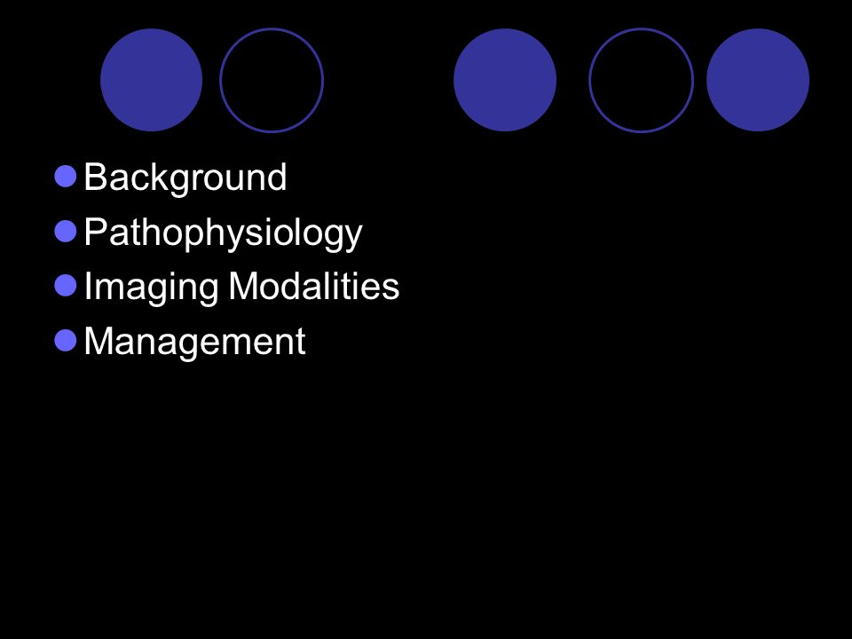 Background Pathophysiology Imaging Modalities Management