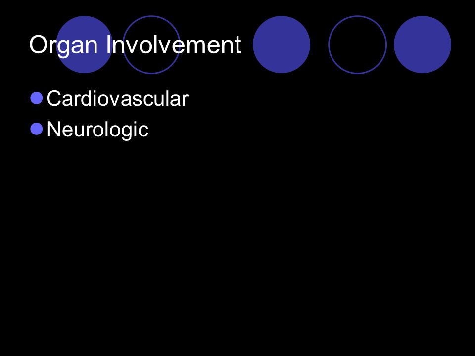 Organ Involvement Cardiovascular Neurologic