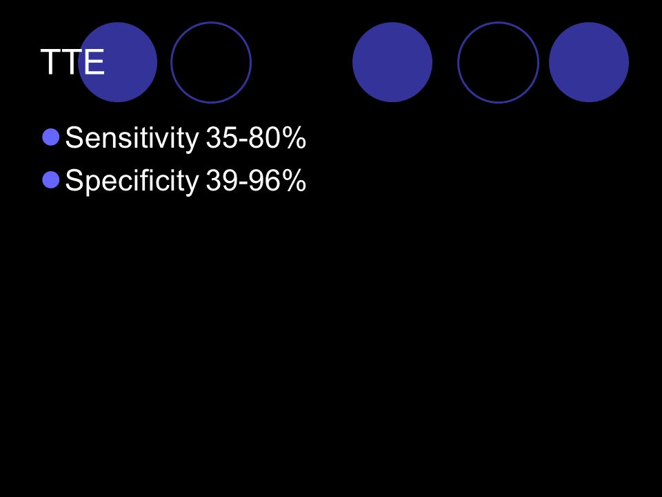 TTE Sensitivity 35-80% Specificity 39-96%
