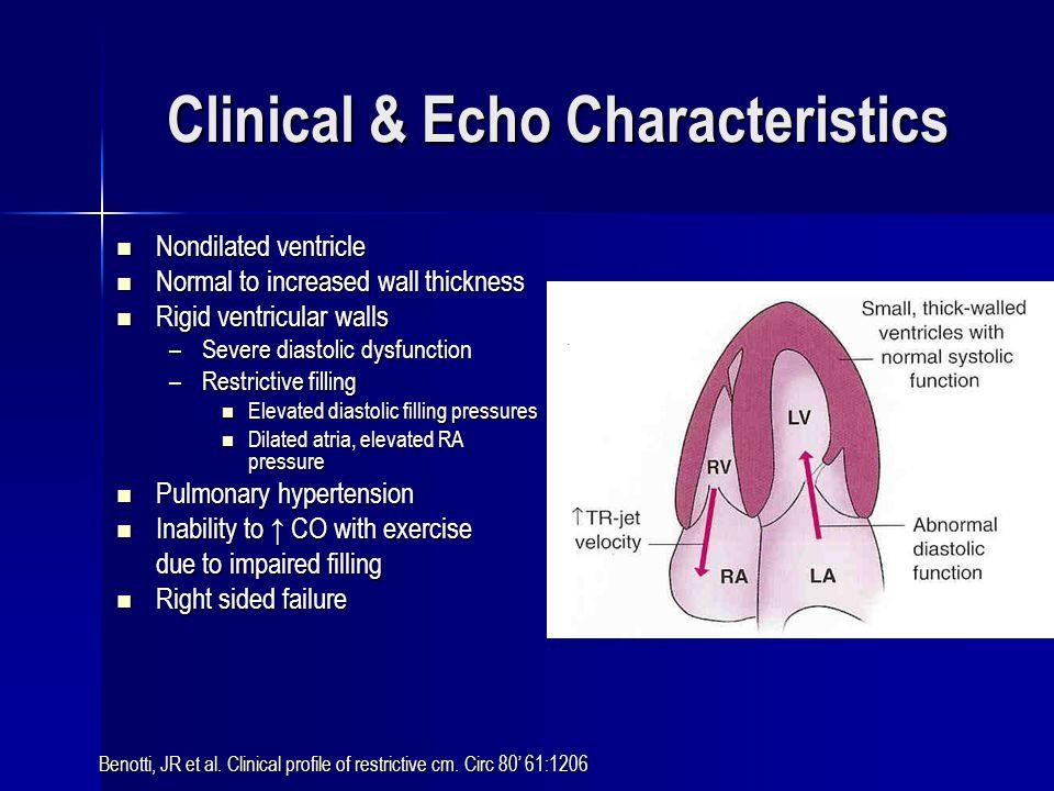 Clinical & Echo Characteristics Nondilated ventricle Nondilated ventricle Normal to increased wall thickness Normal to increased wall thickness Rigid