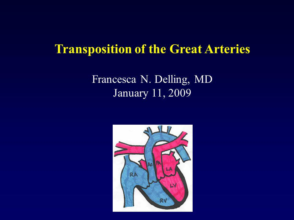 Transposition of the Great Arteries Francesca N. Delling, MD January 11, 2009