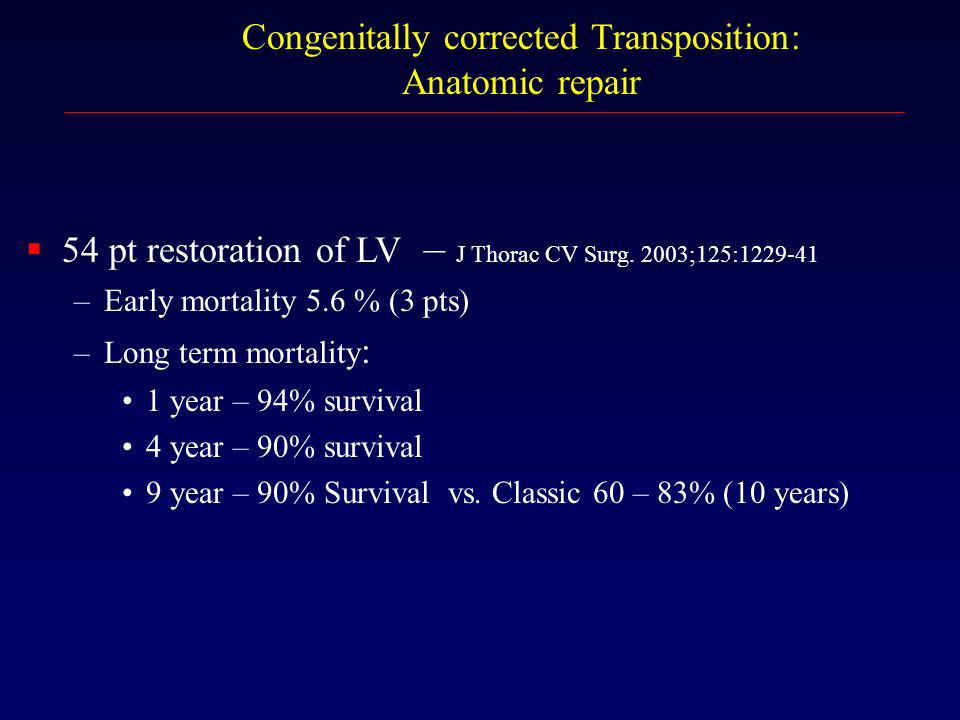 Congenitally corrected Transposition: Anatomic repair  54 pt restoration of LV – J Thorac CV Surg. 2003;125:1229-41 –Early mortality 5.6 % (3 pts) –L