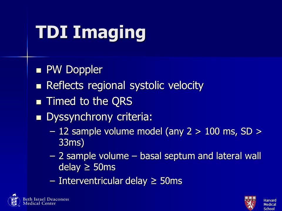 Harvard Medical School TDI Imaging PW Doppler PW Doppler Reflects regional systolic velocity Reflects regional systolic velocity Timed to the QRS Time