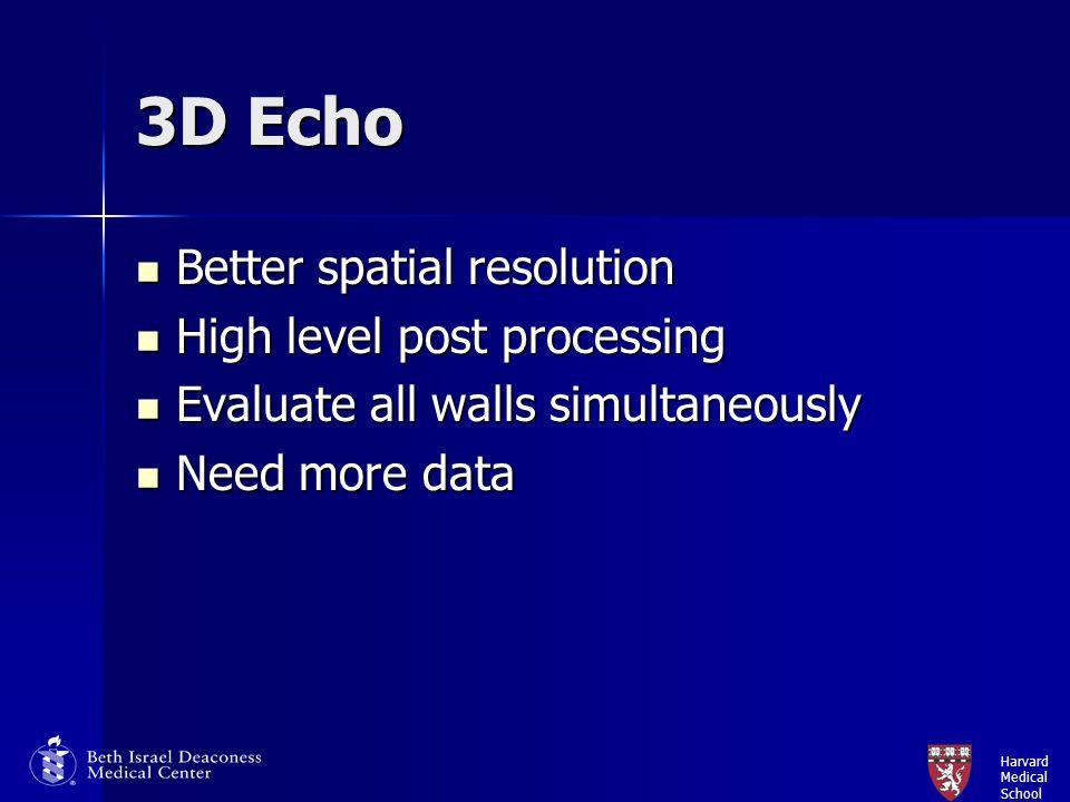 Harvard Medical School 3D Echo Better spatial resolution Better spatial resolution High level post processing High level post processing Evaluate all