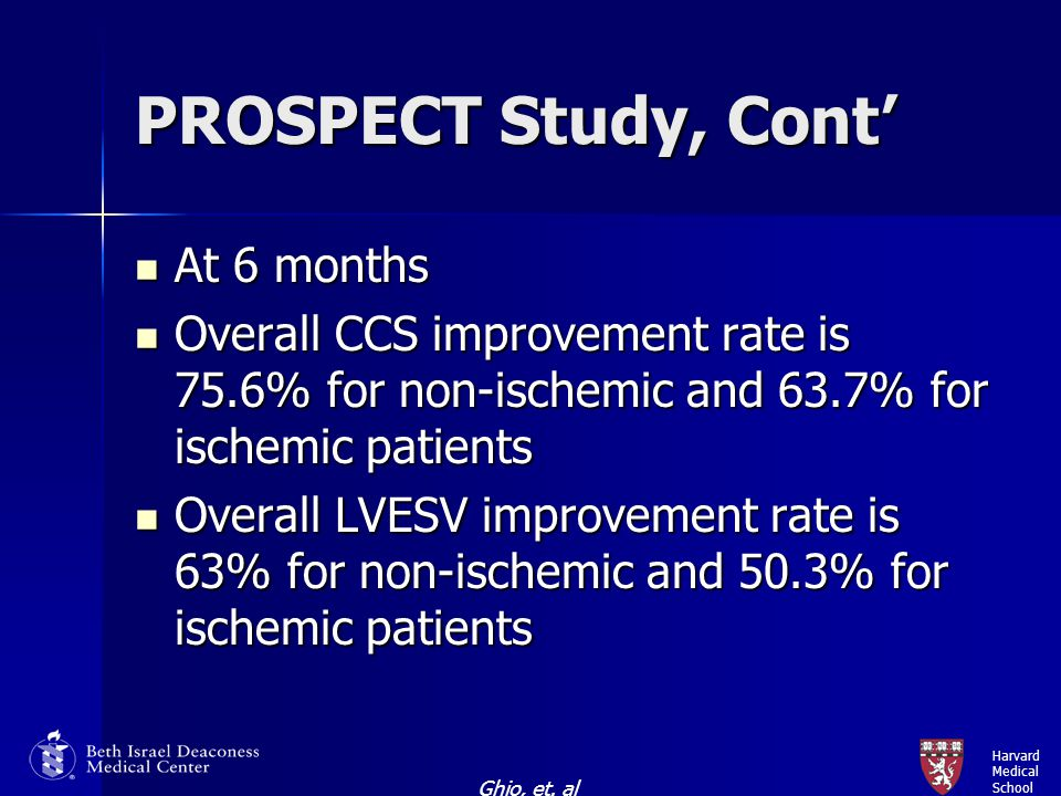 Harvard Medical School PROSPECT Study, Cont' At 6 months At 6 months Overall CCS improvement rate is 75.6% for non-ischemic and 63.7% for ischemic pat