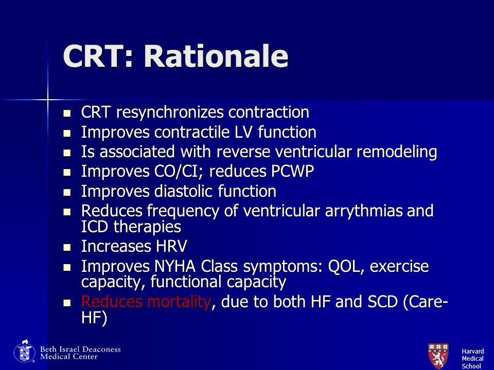 Harvard Medical School CRT: Rationale CRT resynchronizes contraction CRT resynchronizes contraction Improves contractile LV function Improves contract