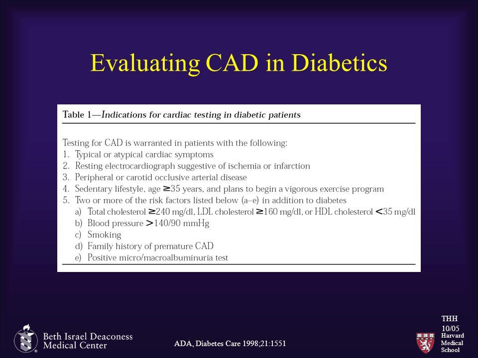 Harvard Medical School THH 10/05 Evaluating CAD in Diabetics ADA, Diabetes Care 1998;21:1551