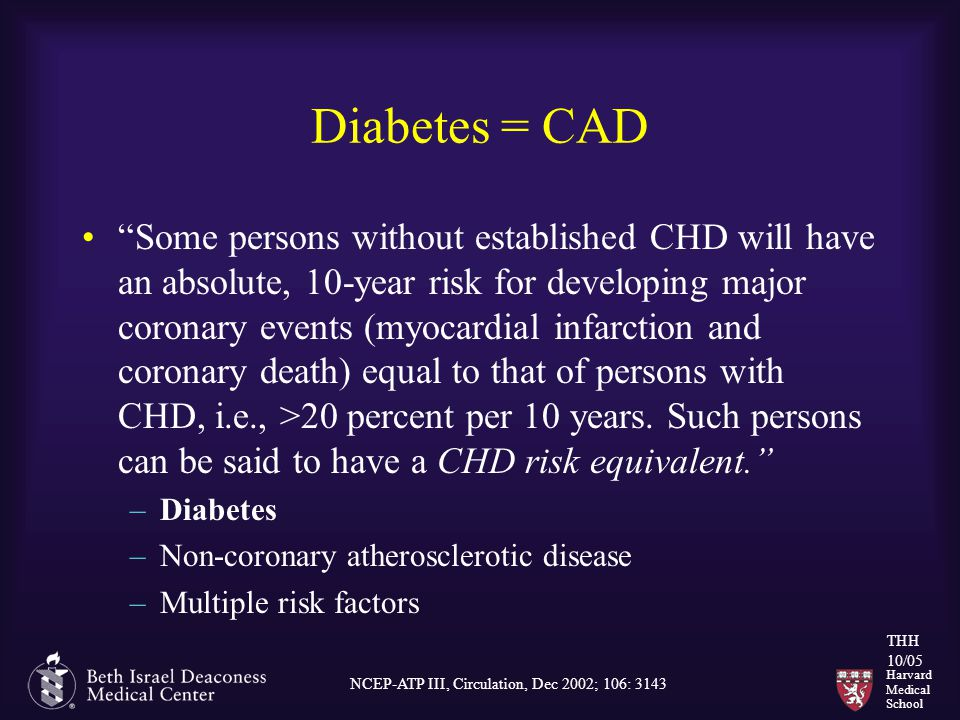 Harvard Medical School THH 10/05 Diabetes = CAD Some persons without established CHD will have an absolute, 10-year risk for developing major coronary events (myocardial infarction and coronary death) equal to that of persons with CHD, i.e., >20 percent per 10 years.